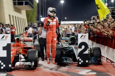 Sebastian Vettel célébrant sa joie après sa victoire au GP de Bahreïn(Source Image : durangoherald.com)