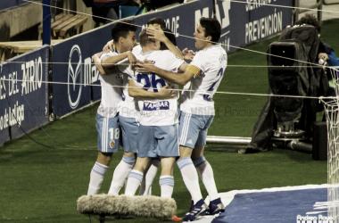 Celebración del gol de Linares | Foto: Andrea Royo, VAVEL