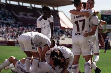 Los jugadores del Albacete celebrando un gol. Fuente: Albacete Balompié