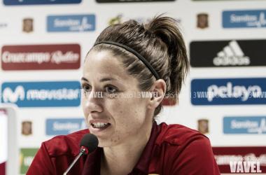 Vicky Losada en la rueda de prensa posterior al España 1-2 Brasil   Foto: Daniel Nieto (VAVEL)