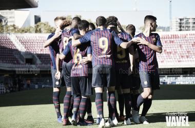 Los jugadores del FC Barcelona celebran un gol / Foto: Noelia Déniz (VAVEL)
