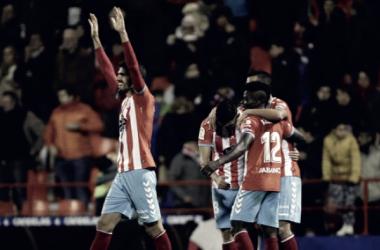 Jugadores del CD Lugo celebrando el tanto de la victoria en el Ángel Carro frente al Osasuna // Fuente: LFP