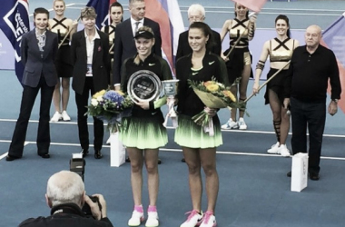 Champion Natalia Vikhlyantseva (R) and runner-up Donna Vekic pose with their trophies and bouquets of flowers after the women's singles final of the Neva Cup 2016. | Photo via Vikhlyantseva's official Instagram page