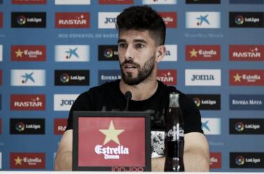 Dídac Vilà en la sala de prensa de la Ciutat Esportiva Dani Jarque. Foto: Web RCD Espanyol.
