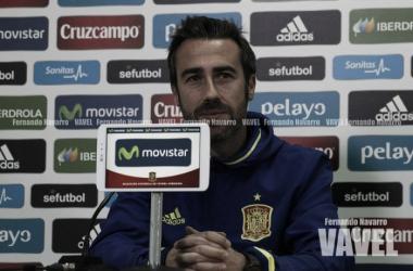 Jorge Vilda durante una rueda de prensa / Foto: Fernando Navarro (Vavel)