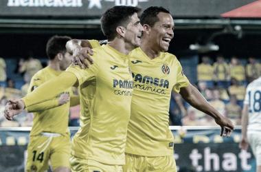 Gerard Moreno y Carlos Bacca en el partido de vuelta ante el Dynamo de Kiev | Imagen: villarrealcf.es
