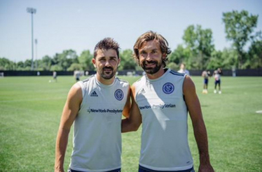 David Villa and Andrea Pirlo at New York FC training facility in Purchase NY. Photo courtesy of New York City FC.