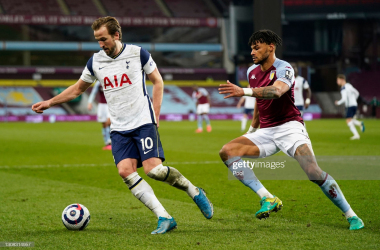 Harry Kane holds the ball up against Tyrone Mings as he looks to see out the game (Photo by Tim Keeton - Pool/Getty Images)