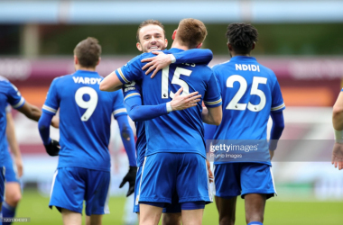 BIRMINGHAM, ENGLAND - FEBRUARY 21: Harvey Barnes of Leicester City celebrates with James Maddison of Leicester City after scoring to make it 0-2 during the Premier League match between Aston Villa and Leicester City at Villa Park on February 21, 2021 in Birmingham, United Kingdom. Sporting stadiums around the UK remain under strict restrictions due to the Coronavirus Pandemic as Government social distancing laws prohibit fans inside venues resulting in games being played behind closed doors. (Photo by Plumb Images/Leicester City FC via Getty Images)