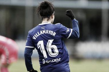 Gloria Villamayor, celebrando uno de los goles del partido. | Foto: Real Oviedo Femenino