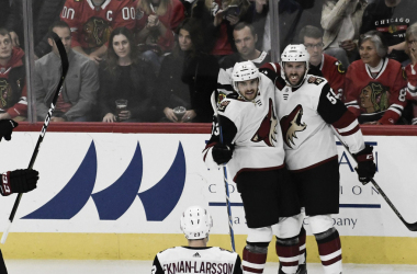 Vinnie Hinostroza celebrates his first goal of the season against his old team. | Photo: The Associated Press