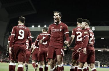 Virgil van Dijk y su grito de gol. Foto: Liverpool.