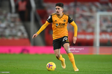 MANCHESTER, ENGLAND - DECEMBER 29: Vitinha of Wolves in action during the Premier League match between Manchester United and Wolverhampton Wanderers at Old Trafford on December 29, 2020 in Manchester, England. The match will be played without fans, behind closed doors as a Covid-19 precaution. (Photo by Michael Regan/Getty Images)