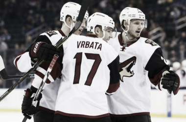 Radim Vrbata scored two goals, but ie wasn't enough to bring a victory to Arizona.  (AP Photo/Seth Wenig)