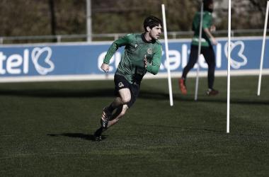 Aritz durante un entrenamiento. / FOTO: Real Sociedad