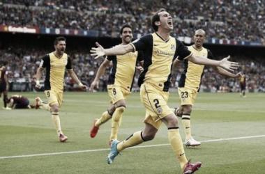 Diego Godín celebra el gol que coronó al Atlético de Madrid campeón de Liga en la temporada 2013/14 /Fuente: Agencia Reuters