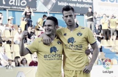 David Rodríguez y Máyor celebrando un gol frente al Elche. Foto: LaLiga1|2|3