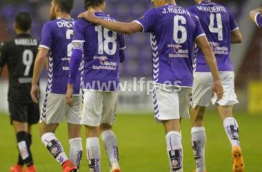 El equipo celebra el gol de Álvaro Rubio. (Fotografía: lfp.es).