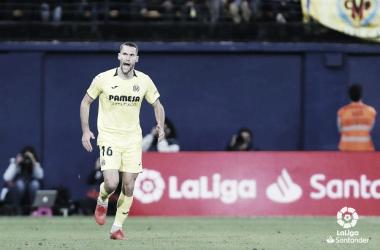 Celebración del empate logrado por Pedraza / Fuente: LaLiga.es