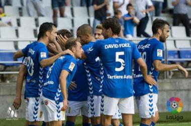 El cuadro asturiano celebra un tanto. (Fotografía: LFP).