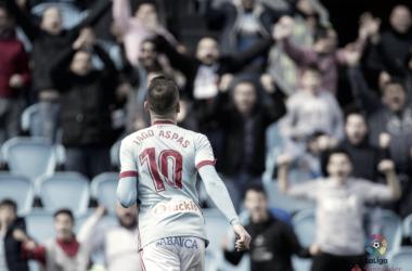 Iago celebra un gol anotado al Sevilla esta temporada en Balaídos | Fuente: LaLiga