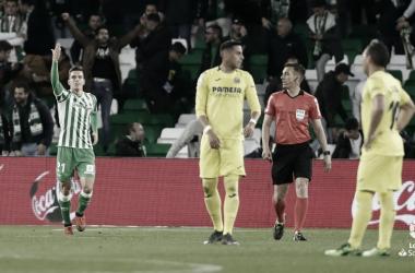 Lo Celso celebrando un gol en el Benito Villamarín. Foto: La Liga Santander