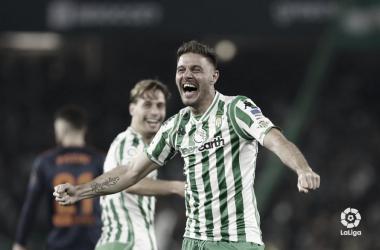 Joaquín celebrando su gol ante el Valencia | Fotografía: LaLiga Santander