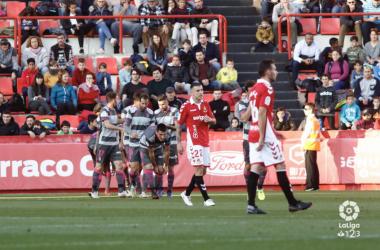 Los jugadores celebran el gol que les dio la victoria frente al Nàstic. Foto: La Liga