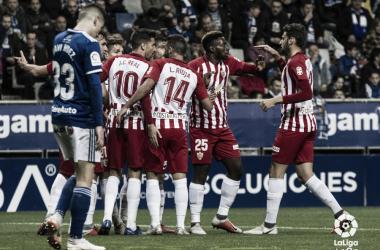 El equipo celebrando uno de los goles   Fuente: La Liga