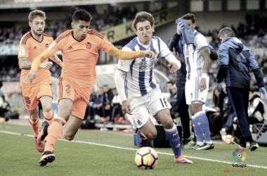 Imagen de archivo de un encuentro de la Real contra el Valencia | Imagen: LaLiga