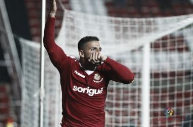 Xavi molina celebrando su gol contra el filial sevillista. Fotografía: La liga 123