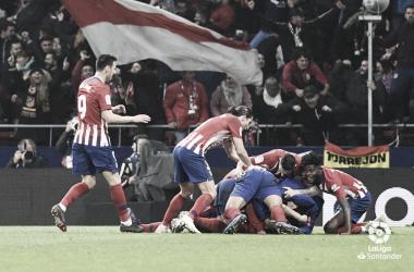 Celebración del tercer gol. /Foto: LaLiga