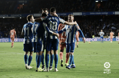 El Dépor celebrando un gol esta temporada | Fuente: La Liga
