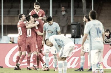 Los jugadores del Sevilla celebran uno de los goles de la tarde | Imagen: La Liga