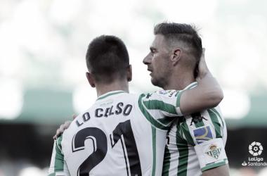Joaquín y Lo Celso tras el primer gol | Foto: LaLiga Santander