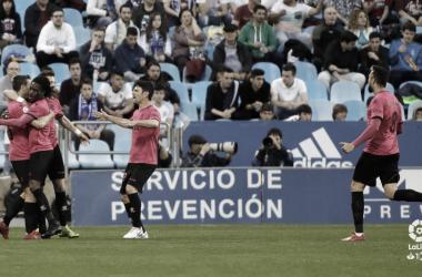 Los jugadores del Alcorcón celebrando el primer gol. Foto: LaLiga