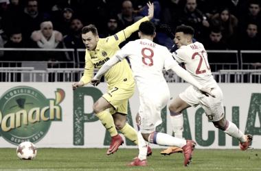 El Villarreal en su visita a Lyon / Foto: La Liga