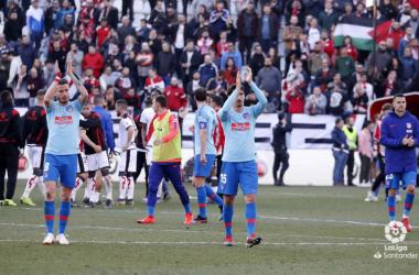 Jugadores del Atlético de Madrid celebrando la victoria | Fotografía: La Liga