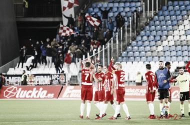 Los jugadores del Almería celebrando la victoria contra el Córdoba | LaLiga