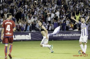 Jaime Mata, celebrando su último Gol con el Real Valladolid, Fotografía: La Liga 123