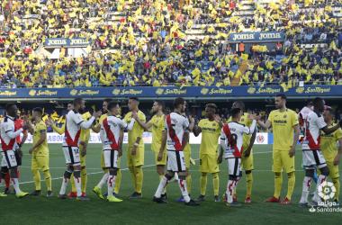 Jugadores antes del partido en Villareal. Fotografía: La Liga