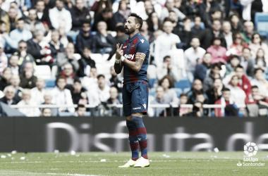 Celebración del primer tanto del Levante logrado por Morales / Fuente:LaLiga.es
