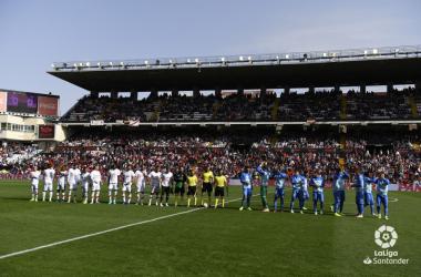 Jugadores del Rayo Vallecano y Getafe antes de comenzar el partido | Fotografía: La Liga