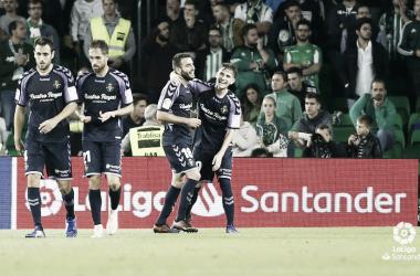 Los jugadores del Real Valladolid celebrando la importante victoria. Fotografía LaLiga Santander