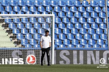 Michel antes de un partido   Fotografía: La Liga