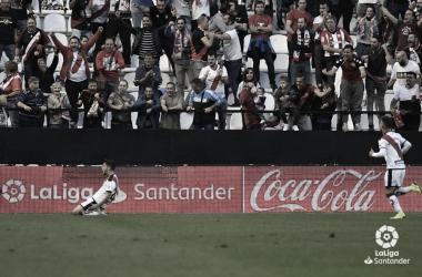 Pozo celebrando su gol ante el Athletic de Bilbao en Vallecas | Fotografía: LaLiga Santander