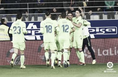 Celebración gol de Roger / Fuente: LaLiga.es