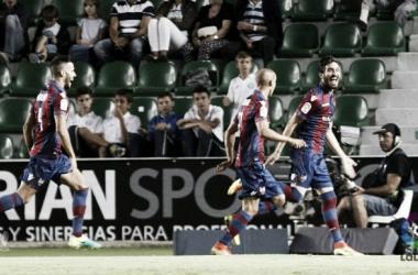Celebración del gol de Campaña    Foto: LFP