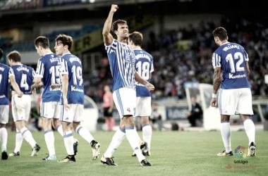 Xabi Prieto celebrando su gol ante el Villarreal. Fotografía: LaLiga