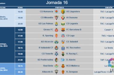 Nuevos horarios del Real Valladolid. (Imagen: www.lfp.es).